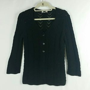 Talbots black knit sweater cardigan 3 buttons